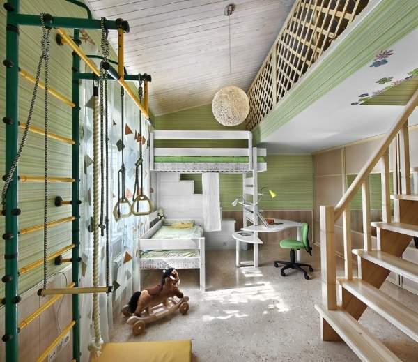 Желтый и зеленый цвета в интерьере детской комнаты