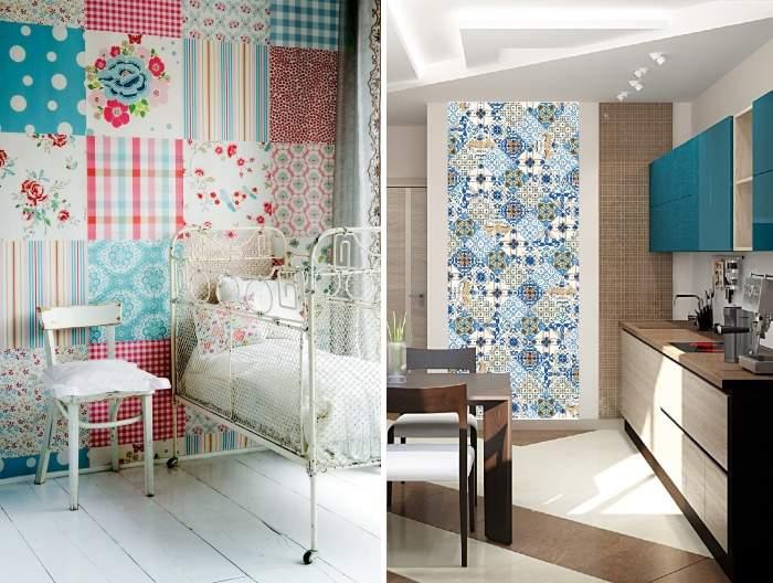 Декор стен своими руками из подручных материалов - обоев, ткани, плитки