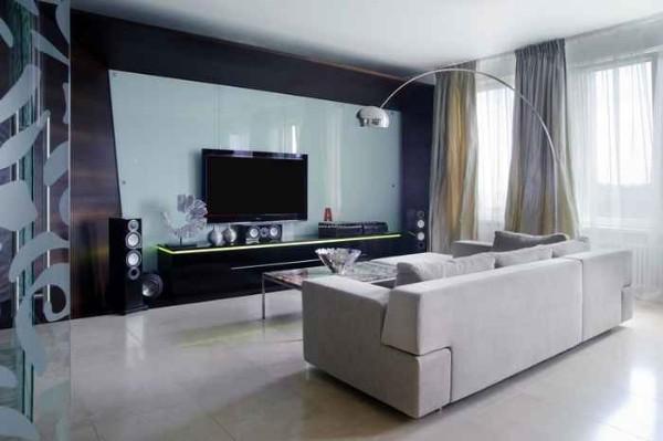 Хай-тек дизайн 2-комнатной квартиры - фото интерьера зала