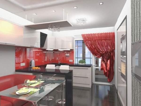 Дизайн 2-комнатной квартиры в панельном доме - фото кухни с балконом