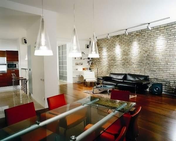 Лофт дизайн интерьера двухкомнатной квартиры - фото кухни гостиной
