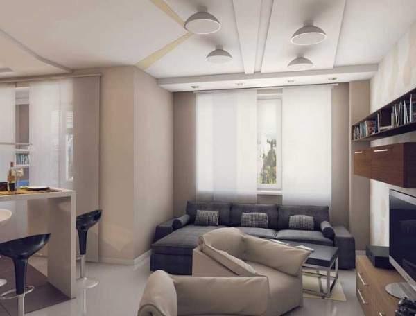 Дизайн двухкомнатной квартиры с совмещенной кухней гостиной