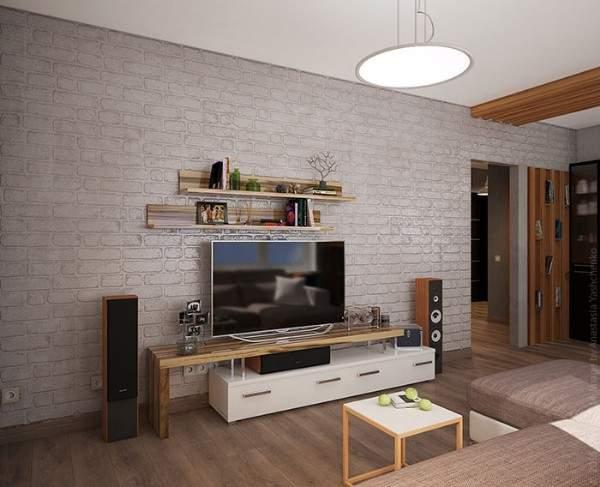Интерьера зала в дизайне двухкомнатной квартиры в стиле лофт