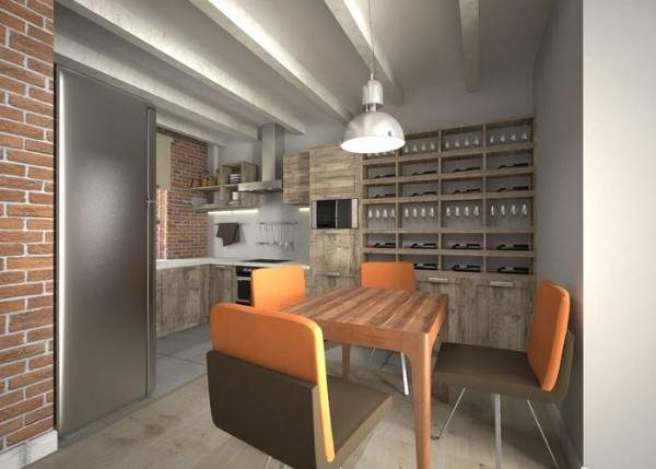 Интерьер двухкомнатной квартиры в стиле лофт - фото дизайна