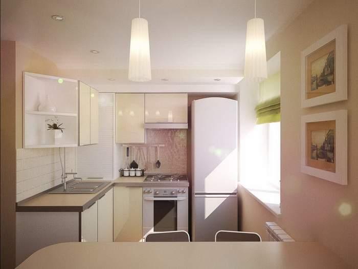 Дизайн 1 комнатной квартиры хрущевки - кухня с барной стойкой