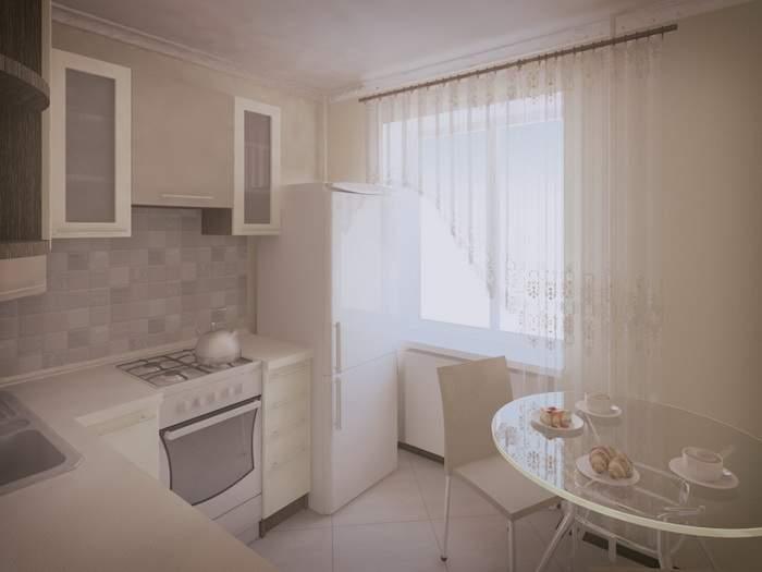 Интерьер кухни в однокомнатной квартире хрущевке в светлых тонах