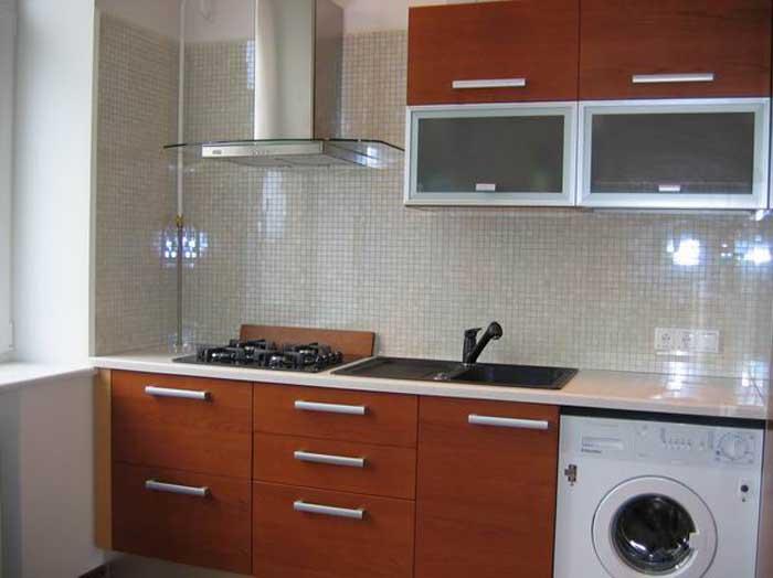 Дизайн интерьера однокомнатной квартиры хрущевки - кухня в стиле минимализм