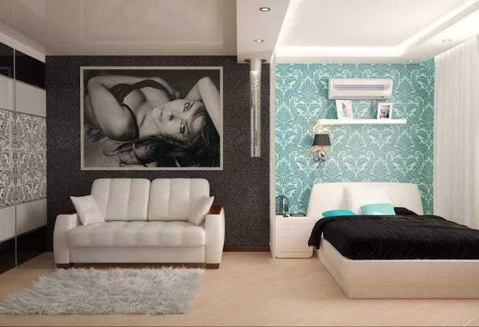 Дизайн зала со спальней в интерьере 1 комнатной квартиры в хрущевке