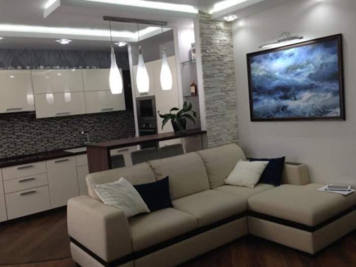 Дизайн интерьера однокомнатной квартиры в хрущевке - гостиная с кухней