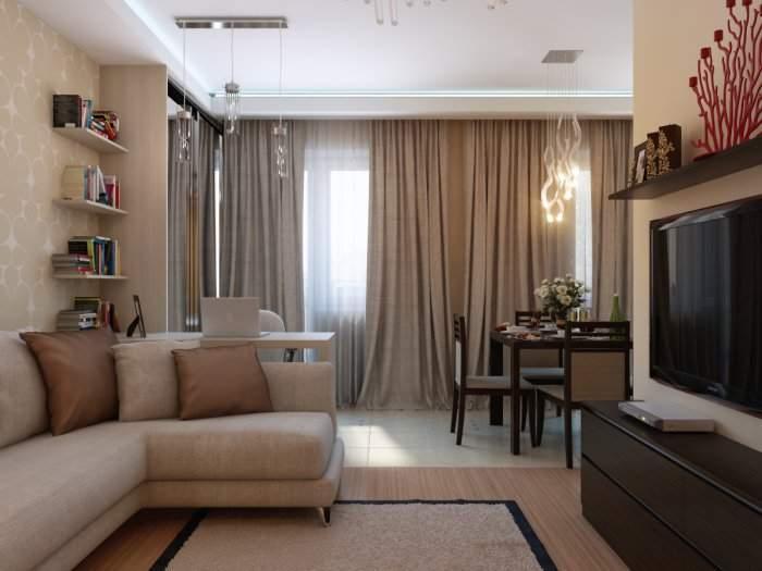 Дизайн 1 комнатной квартиры хрущевки - объединение кухни с залом