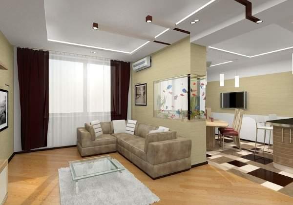 Дизайн панельной двухкомнатной квартиры - фото интерьера кухни гостиной
