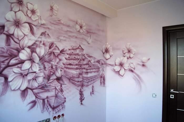 Как украсить стену ручной росписью - идеи с фото