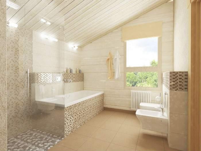 Интерьер небольшого частного дома - дизайн ванной комнаты