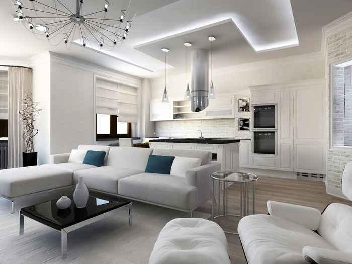 Интерьер кухни гостиной частного дома в стиле хай тек