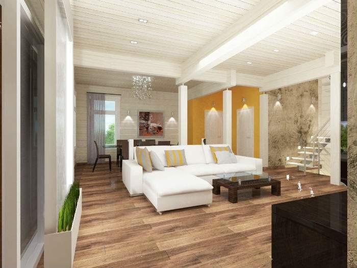 Хай-тек дизайн зала в частном доме, совмещенного с кухней столовой