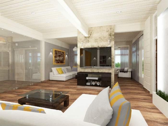 Хай-тек дизайн интерьера гостиной в частном доме