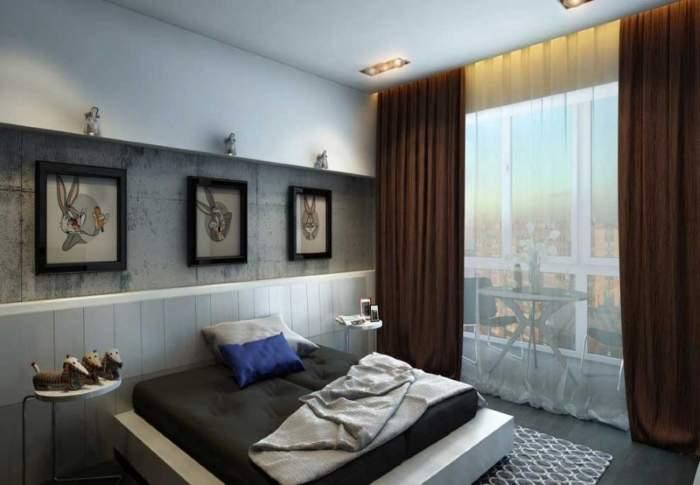 Балкон с панорамными окнами в интерьере спальни - фото 2017