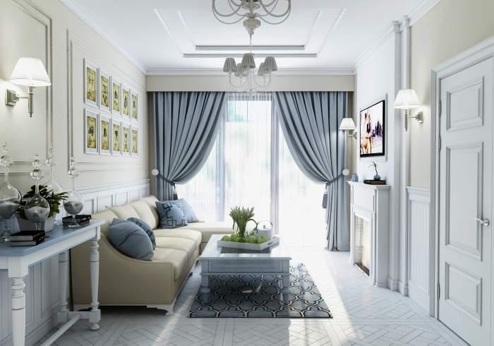 Дизайн гостиной с панорамными окнами и красивыми шторами