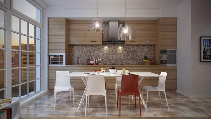 Современный дизайн кухни с панорамным окном - фото интерьера