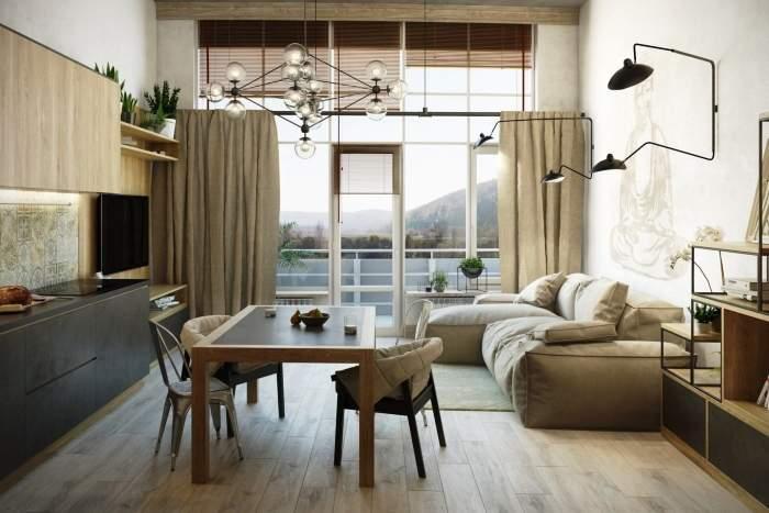 Панорамное окно в маленькой квартире - фото зала