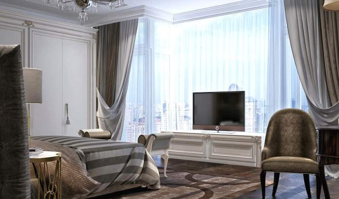 Дизайн спальни в квартире с панорамными окнами - фото интерьера