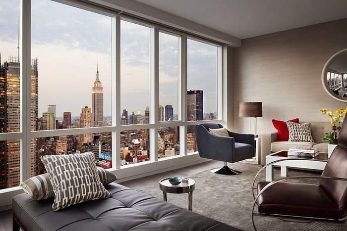 Квартира с панорамными окнами - фото с красивым видом на город