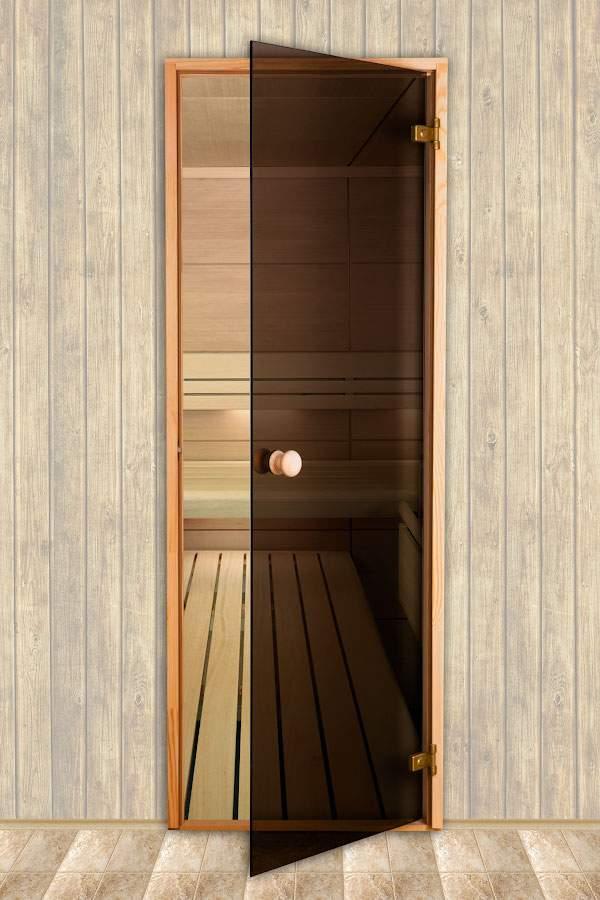 Стеклянная дверь для бани и сауны с красивыми петлями