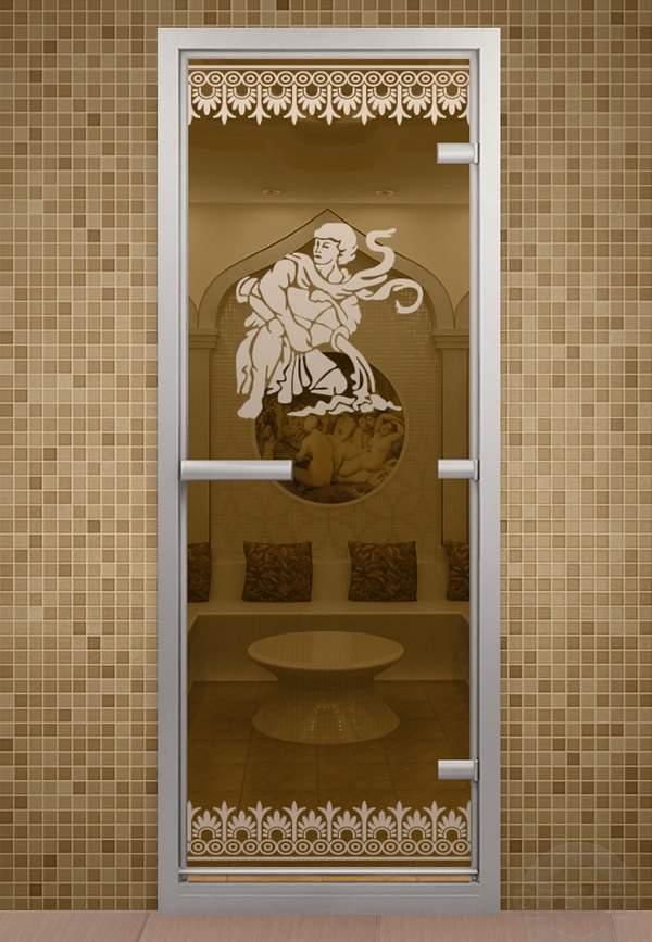Стеклянная дверь для бани и сауны с рисунком - фото