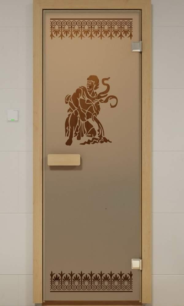 Матовая стеклянная дверь для бани и сауны с прозрачным рисунком
