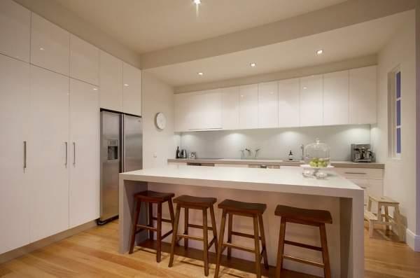 Кухня в белых тонах - фото в современном стиле