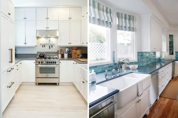 Белые кухни с темными серыми и синими столешницами