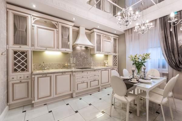 Кухни белые с золотой патиной - фото дизайна интерьера