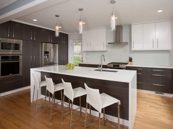 Современные серо белые кухни - фото красивого интерьера