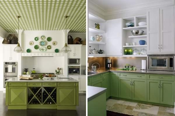 Бело зеленая кухня - фото дизайна в интерьере