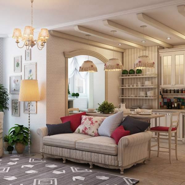 Однокомнатная квартира студия - интерьер дизайн фото в стиле прованс