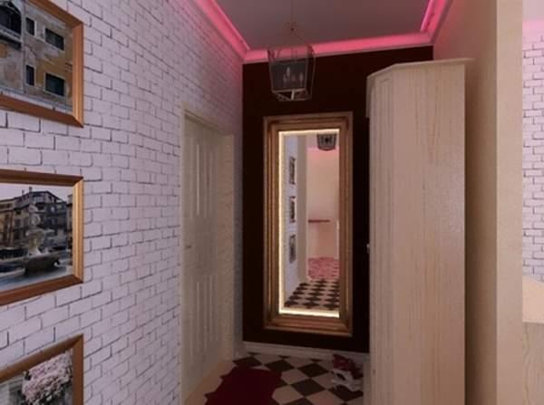 Лофт дизайн маленькой квартиры в хрущевке - интерьер прихожей