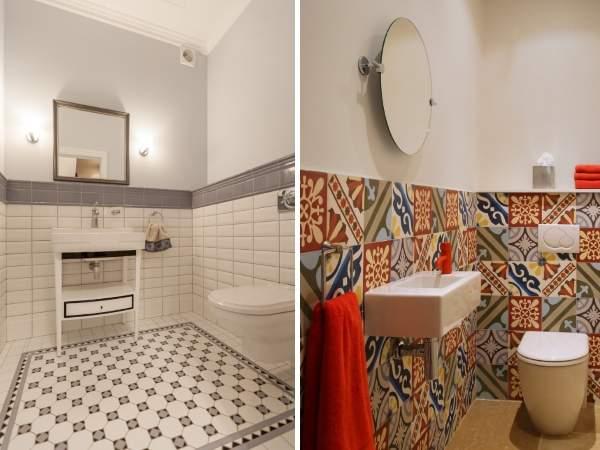Дизайн туалета - фото красивой плитки в интерьере