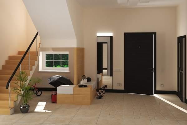 Дизайн прихожей в частном доме с окном и лестницей