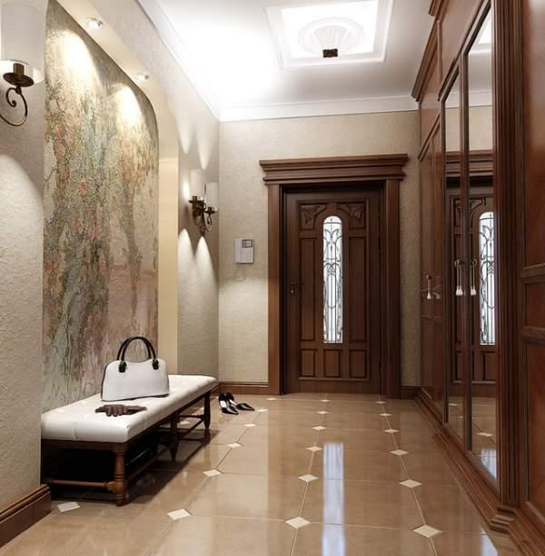 Красивый дизайн прихожей в частном доме в классическом стиле