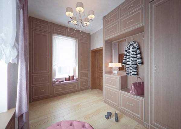 Дизайн большой прихожей в частном доме со встроенными шкафами