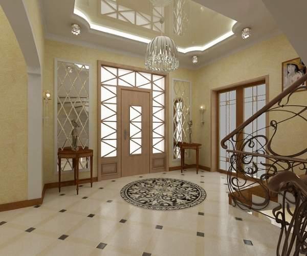 Роскошный холл с лестницей в частном доме - фото дизайна интерьера