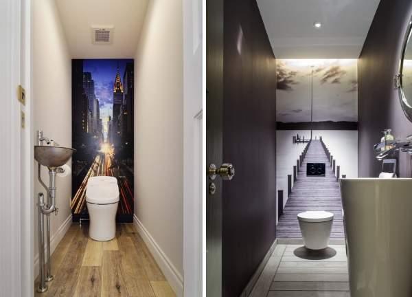 Красивый интерьер туалета - фото с фотообоями в комнате