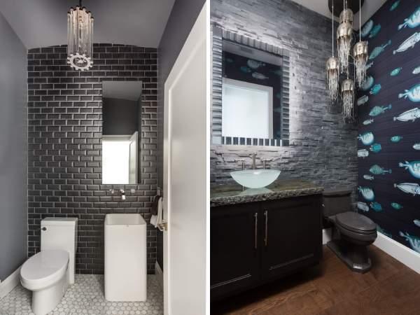 Модный дизайн туалета без ванны - фото в темных тонах