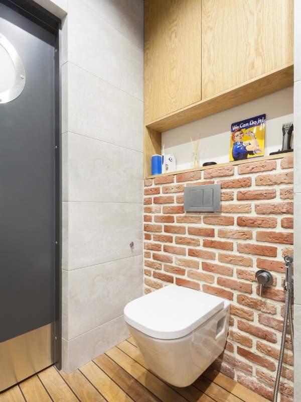 Дизайн маленького туалета - фото в стиле лофт