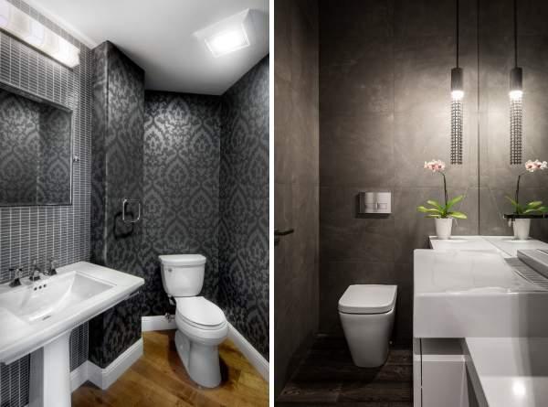 Дизайн туалета маленького размера - фото с черными обоями