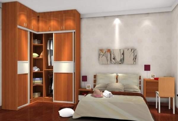 Встроенный угловой шкаф купе в спальню - фото модели из ДСП