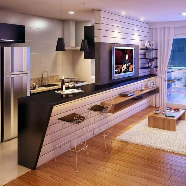 Дизайн проект однокомнатной квартиры студии с барной стойкой
