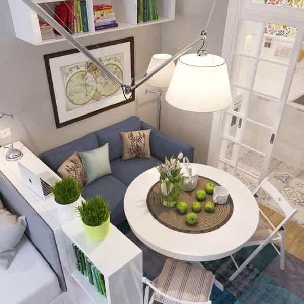 Интерьер гостиной в однокомнатной квартире студии - фото современного дизайна