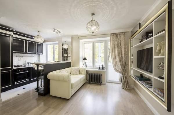 Дизайн интерьера однокомнатной квартиры студии в классическом стиле арт-деко