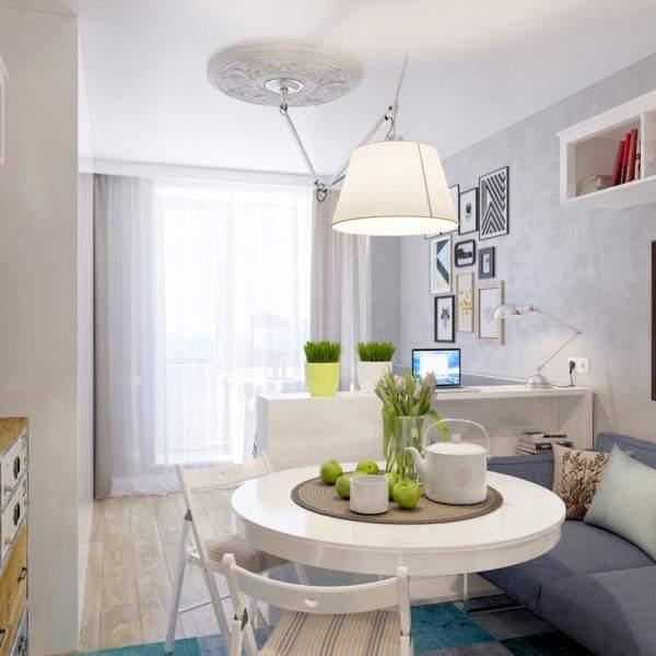 Современный дизайн проект маленькой однокомнатной квартиры студии